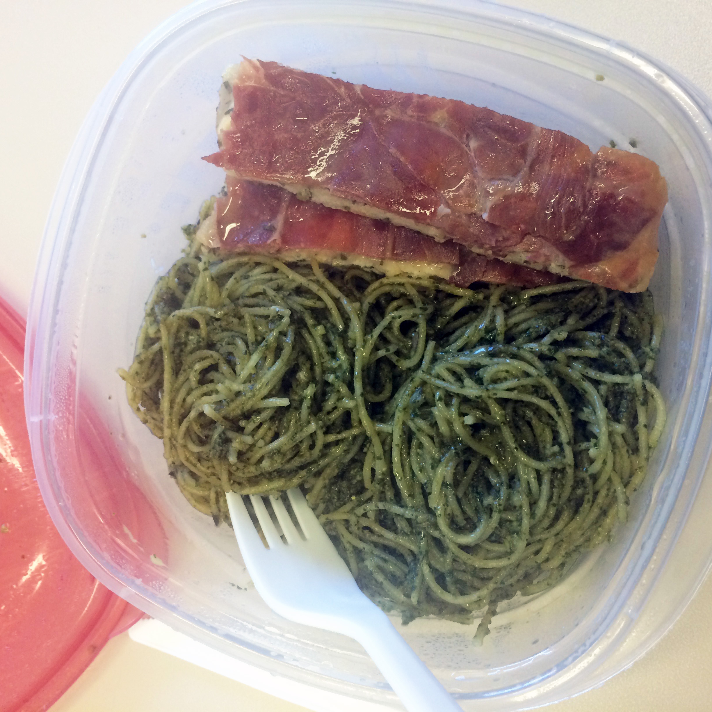 Lunch idea leftovers prosciutto chicken pesto pasta