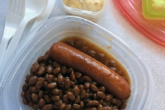 Lunch idea leftovers beans and frank