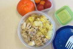 Lunch idea leftovers chicken potato corn