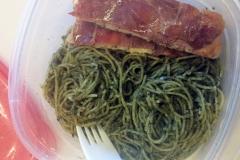 Lunch idea leftovers prosciutto chicken pesto pasta