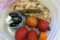 Lunch idea pita peanut butter olives