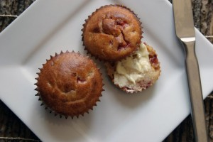 Strawberry, banana, and white chocolate muffins.