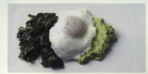 This rather odd assembly would be spinach, scape pesto, & an over easy egg. You probably should avoid dinner at our house on Wednesdays.